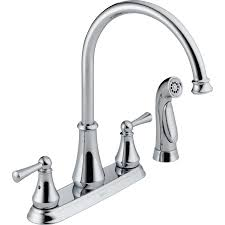 Delta Chrome Kitchen Faucets Shop Delta Chrome 2 Handle High Arc Kitchen Faucet At Lowescom