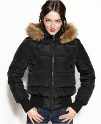 black puffer jackets nautica competition quilted hooded faux fur trim puffer coat