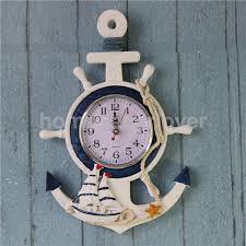 whole anchor clock beach sea theme nautical ship wheel rudder steering wheel starfish decor wall hanging decoration modern wall clocks large modern wall