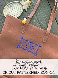 Patterned Iron On Vinyl New Monogrammed Leather Tote Bag Cricut Patterned Iron On DIY Tote Bag