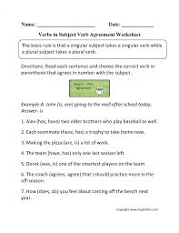 Verbs Worksheets Modal Subject Verb Agreement Activity 3rd Grade ...