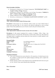 Extra Curricular Activities For Resumes Sample Of Resume 2