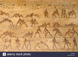 wall paintings of wrestlers in tomb of saqet iii tombs at beni hassan middle egypt egypt