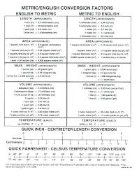 Simple Metric Conversion Chart Jasonkellyphoto Co