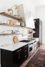 interior design fo open shelving kitchen. Black Kitchen Cabinets In With Open Wood Shelving Via Studio McGee Interior Design Fo