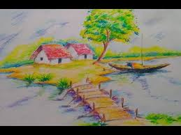 how to draw a beautiful scenery for