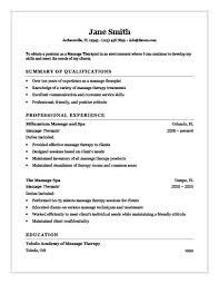 New Massage Therapist Resume Examples
