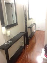 half table for hallway. Narrow Hallway Decor Solution! Cut A Table In Half And Bolt To The Wall! For E