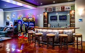 cool basement bars. Interesting Cool Arcade Paired With Basement Bar Intended Cool Bars