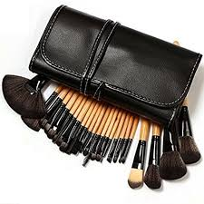 klaren professional 24 piece all natural real hair makeup brush set handle pcs cosmetic beauty brushes kit make up leather organizer case bag