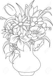 白い花瓶ベクトルやイラストで夏の花の花束