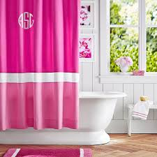 color block shower curtain pink magenta bright pink