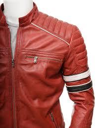 men s red leather biker jacket croyde side