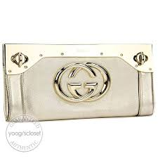 gucci silver leather starlight metal frame evening clutch bag