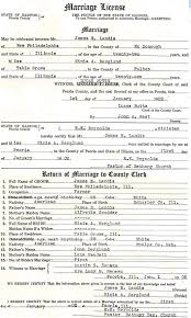 Marriage license for Lee Landis and Erma Smith
