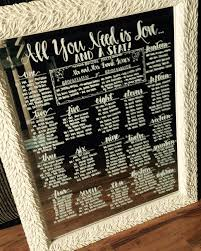 Hand Written Calligraphy Mirrored Seating Charts For