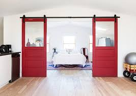 red sliding barn door. 20_0009_dupuis_3rdlevelbedroom_4. A Pair Of Modern Red Sliding Doors Barn Door