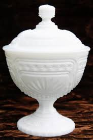 vintage milk glass covered box candy dish or small compote w lid star fan pattern