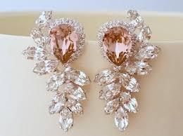 blush bridal earrings bridal earrings blush pink chandelier earrings extra large stud earrings swarovski earrings cer earrings statement