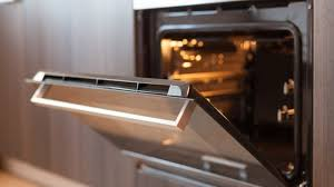 empty open electric oven with hot air ventilation