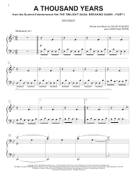 A Thousand Years Sheet Music Christina Perri A Thousand Years Atstantons Sheet Music