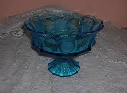 vintage fostoria blue coin glass crystal pedestal bowl