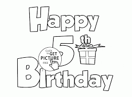 Small Picture Happy 5th Birthday Letters Card coloring page for kids holiday