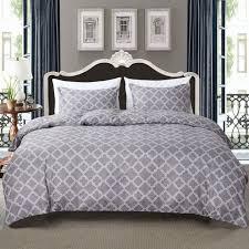duvet cover set comforter bedding pillowslip pillowcase light grey check geometric pattern soft grey twin