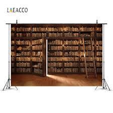 Online Shop <b>Laeacco</b> Library <b>Old Wooden</b> Bookshelf Books Ladder ...