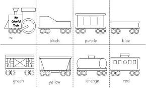 Little kid are fascinated with cars, trucks, trains, blips, tractors, and basically anything that moves! Train Color Word Accordion Fold Freight Train Book Activities Train Activities Transportation Theme Preschool