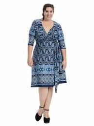 Kiyonna Dress Size Chart Details About Kiyonna Womens Dress Size 3x Beguiling Border Geometric Print True Wrap Usa
