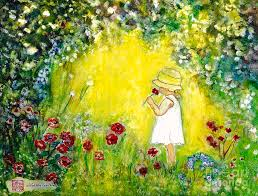 girls mixed media my secret garden by norma boeckler