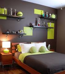 Dark Brown Bedroom Colors Scheme With Square Green Wall Motif Also Padded  Pillow With Ball Shape And Brown Wooden Bed And Small Table Complete With  Green ...