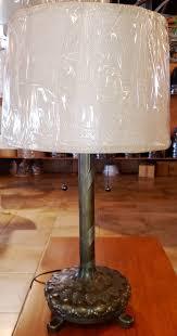 antique brass table lamp burlap drum shade 26 h