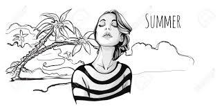 ヤシの木と熱帯のビーチで目を閉じて若いかわいいおしゃれな女の子ベクターの手描きスケッチ図黒と白