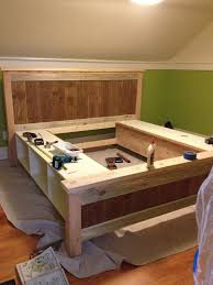 image of traditional diy bed frame with storage