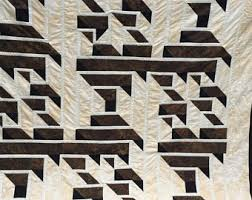 Labyrinth quilt | Etsy & A-Maze-ing Labyrinth Walk Quilt/Handmade/Brown/Black Adamdwight.com