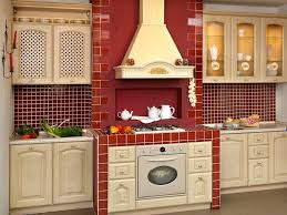 red accent country kitchen design with beige kitchen cabinet and red ceramic tile backsplash also