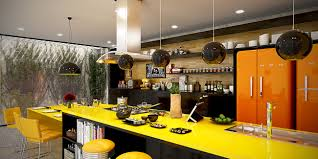 Orange Kitchens Contemporary Kitchen Best Modern Yellow Accent Kitchens Design