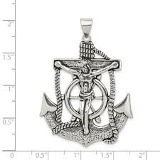 925 sterling silver nautical anchor ship wheel mariners cross religious pendant charm necklace mariner fine jewelry gifts for women for her