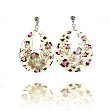 accessories acrylic leopard skin lotus clip on earrings