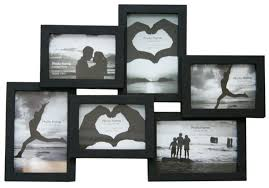 details about stylish photo picture frame holds 6 photos aperture multi collage wall black new