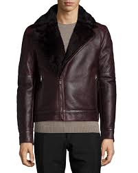 shearling collar leather moto jacket burdy