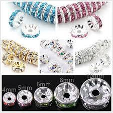 <b>100Pcs</b> Rondelle Spacer Silver Beads Czech Crystal Rhinestone ...
