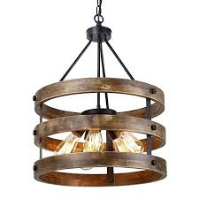 vintage wood chandelier metal and circular pendant five lights oil black finishing retro industrial rustic ceiling