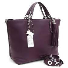 michael kors 2way handbag brooklyn large satchell 30t7sbns3l purple leather used tote bag shoulder bag silver