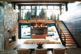 mountain modern furniture. Exposed Stairs And Open Loft Space Offer Access To Mountain Views Modern Furniture
