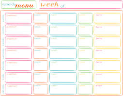Free Printable Meal Plan Template Free Printable Meal Planner Template Daily Menu Weekly With