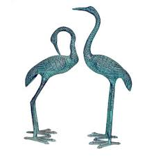india metal crane pair statue on global