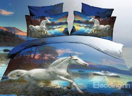 white horse and swan print 4 piece polyester 3d duvet cover sets